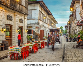 VIGAN, PHILIPPINES - JULY 25, 2015 : A restaurant in Historic Town of Vigan.Vigan is a UNESCO World Heritage Site in that it is one of the few Spanish colonial town