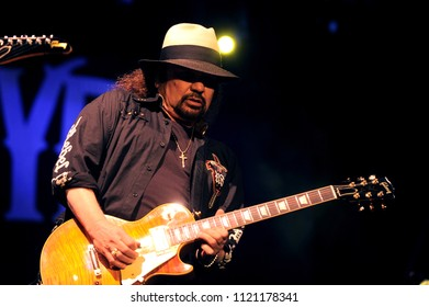 """Vigevano Italy, from 13 June to 24 July 2012, live concerts """"10 Giorni Suonati 2012"""" Festival at the Castle of Vigevano: Wednesday 13 June 2012, the guitarist of Lynyrd Skynyrd, Gary Rossington"""