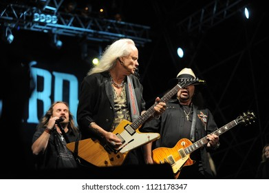 """Vigevano Italy, from 13 June to 24 July 2012, live concerts""""10 Giorni Suonati 2012""""Festival at the Castle of Vigevano: Wednesday 13 June 2012,the guitarists of Lynyrd Skynyrd,R.Medlocke and G.Rossingt"""