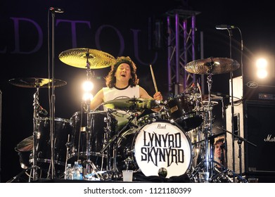 """Vigevano Italy, from 13 June to 24 July 2012, live concerts """"10 Giorni Suonati 2012"""" Festival at the Castle of Vigevano: Wednesday 13 June 2012, the drummer of Lynyrd Skynyrd, Michael Billboard"""