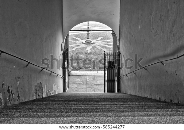 Vigevano (Italy, Lombardy): reinassance Ducale palace entrance staircase. Black and white photo.