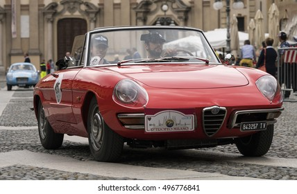 """VIGEVANO / ITALY - OCTOBER 01, 2016: a classic Alfa Romeo Spider, this car, commonly known as """"Duetto"""", is one of the most famous cars of the Milan company, produced from 1966 to 1994."""
