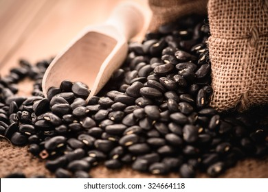 Vigna mungo or black beans with wooden spoon