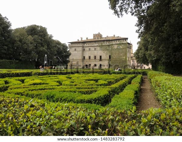 VIGNANELLO, LAZIO, ITALY April 22 2019: Decorative Italian Gardens of Castello Ruspoli.