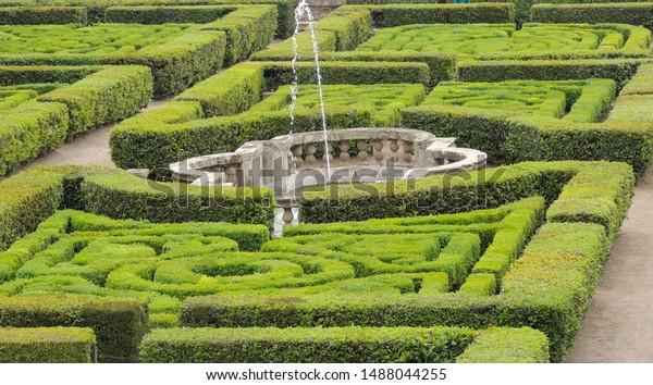 VIGNANELLO, LAZIO, ITALY - April 22 2019: Garden of Castello Ruspoli in a Italian Renaissance style.