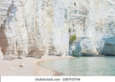 Vignanotica, Apulia, Italy - Giant chalk cliffs at the beach of Vignanotica