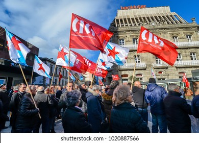 Vigo - Galicia -  Spain - 7th Feb 2018 - Protest March in defense of pensions