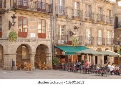 Vigo, Galicia, Spain - October 9, 2007: The emblematic Praza da Constitucion serves as the Main Square (Plaza Mayor)