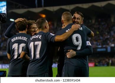 Vigo; Spain. 11 Nov; 2018. Karim Benzema gol, La Liga match between Real Club Celta de Vigo and Real Madrid in Balaidos stadium; Vigo; score 2-4.