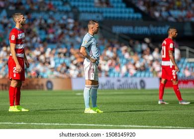 Vigo; Spain. 15 Sept; 2019. Domingos Duarte, Iago Aspas during La Liga match between Real Club Celta de Vigo and Granada CF in Balaidos stadium; Vigo; final score 0-2