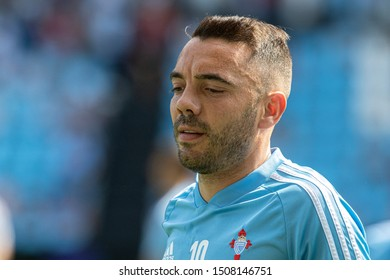 Vigo; Spain. 15 Sept; 2019. Iago Aspas of Celta de Vigo looks on prior to the La Liga match between Real Club Celta de Vigo and Granada CF in Balaidos stadium; Vigo; final score 0-2
