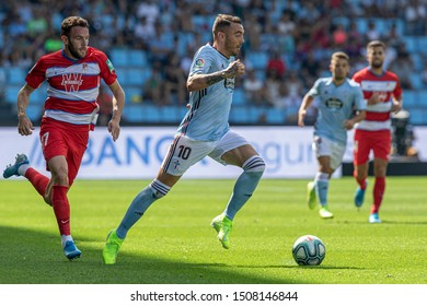 Vigo; Spain. 15 Sept; 2019. Iago Aspas and Quini during La Liga match between Real Club Celta de Vigo and Granada CF in Balaidos stadium; Vigo; final score 0-2