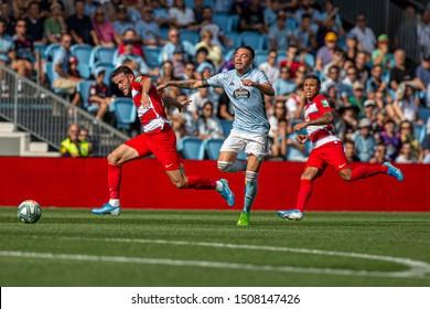 Vigo; Spain. 15 Sept; 2019. Quini Marin, Iago Aspas and Darwin Machis, La Liga match between Real Club Celta de Vigo and Granada CF in Balaidos stadium; Vigo; final score 0-2