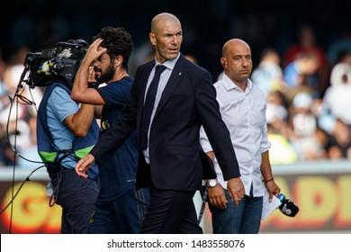 Vigo; Spain. 17 Aug; 2019. Zinedine Zidane during La Liga match between Real Club Celta de Vigo and Real Madrid in Balaidos stadium; Vigo; final score 1-3