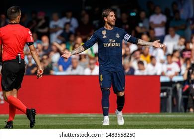 Vigo; Spain. 17 Aug; 2019. Sergio Ramos during La Liga match between Real Club Celta de Vigo and Real Madrid in Balaidos stadium; Vigo; final score 1-3