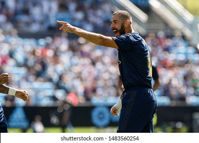 Vigo; Spain. 17 Aug; 2019. Karim Benzema during La Liga match between Real Club Celta de Vigo and Real Madrid in Balaidos stadium; Vigo; final score 1-3