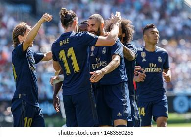 Vigo; Spain. 17 Aug; 2019. Real Madrid players celebrate La Liga match between Real Club Celta de Vigo and Real Madrid in Balaidos stadium; Vigo; final score 1-3