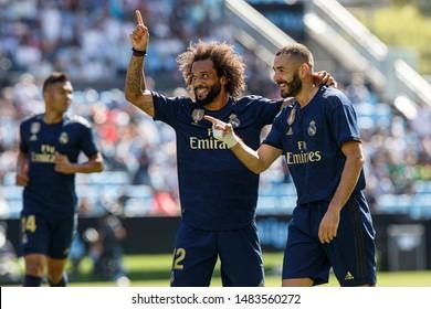 Vigo; Spain. 17 Aug; 2019. Marcelo and Benzema during La Liga match between Real Club Celta de Vigo and Real Madrid in Balaidos stadium; Vigo; final score 1-3