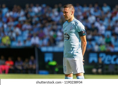 Vigo, Spain - 22 Sept, 2018: Iago Aspas (celta captain), La Liga match between Real Club Celta de Vigo and Real Valladolid in Balaidos stadium; Vigo; final score 3-3.