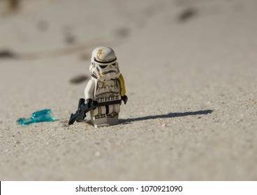 Vigo, Spain - October 2017 - lego star wars minifigure stormtrooper lonley on the beach