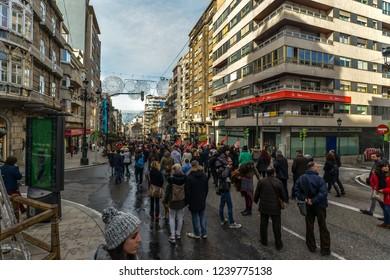 Vigo/Galicia - Spain - 11/25/18 - A march in central Vigo, against female violence