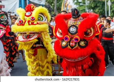 Vihara Dharmayana, Chinese Buddhist temple in Kuta, Bali, Indonesia. January, 24, 2020. Chinese-Indonesian community celebrating Chinese Lunar New Year with Lion dance (Barongsai).