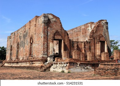Vihara ,Hall of Buddha image  ,Wat Khudeedao ,ancient architecture  , Buddhist sculpture ,Thai temple architecture ,Ayutthaya Historical Park,Thailand , world heritage.