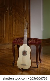 Vihuela, spanish renaissance musical instrument at palace interior