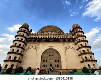 vijayapura Karnataka, India 14 12 2019: golgumbaz with four tombstone on all corner with blue sky