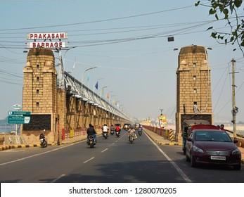 VIJAYAWADA, ANDHRA PRADESH, INDIA, JANUARY 07, 2019: Prakasam Barrage, which  stretches 1223.5 m across the Krishna River connects Krishna and Guntur districts.