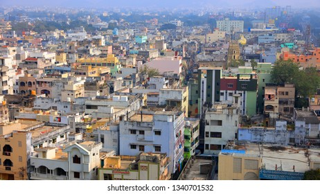 Vijayawada, INDIA - January 7 2019 : Aerial view of city in twilight, at Vijayawada, India