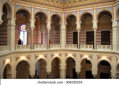 Vijecnica , Former Sarajevo City Hall and National and University Library (reconstructed after being destroyed by Serbian army in 1992), SARAJEVO, BOSNIA and HERZEGOVINA - JULY 13, 2015: Hall