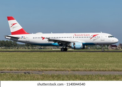 VIJFHUIZEN, THE NETHERLANDS - June 20, 2018: Austrian Airlines Airbus A320-200 with registration OE-LBK just landed on runway 18R (Polderbaan) of Amsterdam Airport Schiphol.