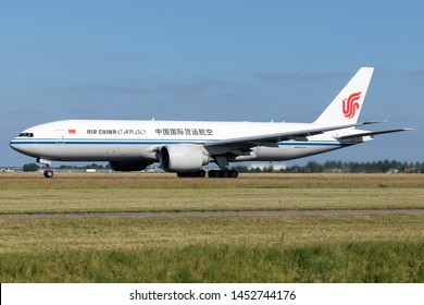 VIJFHUIZEN, THE NETHERLANDS - June 27, 2019: Air China Cargo Boeing 777F with registration B-2093 on take off roll on runway 36L (Polderbaan) of Amsterdam Airport Schiphol.