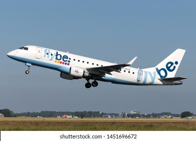 VIJFHUIZEN, THE NETHERLANDS - June 28, 2019: British flybe Embraer ERJ-175 with registration G-FBJE taking off runway 36L (Polderbaan) of Amsterdam Airport Schiphol.