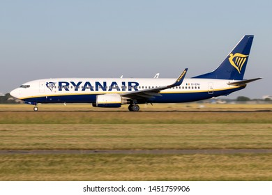 VIJFHUIZEN, THE NETHERLANDS - June 28, 2019: Irish Ryanair Boeing 737-800 with registration EI-EMA on take off roll on runway 36L (Polderbaan) of Amsterdam Airport Schiphol.