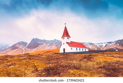 Vik Church, Iceland on a cloudy cold day in winter