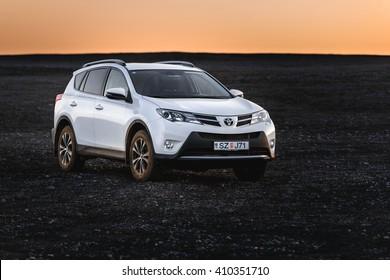 VIK, ICELAND - MAY 08, 2015. Toyota RAV4 four wheel drive SUV on unpaved roads and terrain