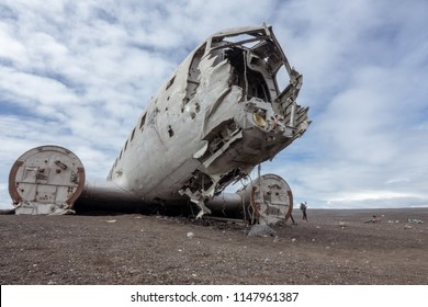 Vik, Iceland-June 11, 2018: In November 21, 1973 a US Navy Douglas R4D-8,  Super DC-3 crashed in the south of Iceland, due to heavy icing. It is a popular site to visit  nowadays.