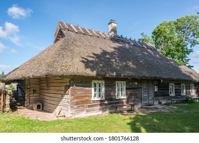 Viki, Saare County, Estonia AUG 03, 2020: Hiiumaa open-air museum Mihkli farm, Estonia. Most of the buildings date to the middle of the 18th century. One of the best preserved farmsteads.