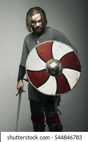 Viking in armor ready for the battle