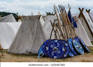 Viking blue shields and pikes with tents