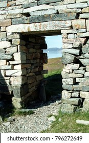 Viking church doorway of Hvalsey Church in Hvalsey Fjord, south Greenland. Made of granite with lintels weighing up to five tons, the walls may have been built by Scots-Norse masons in 14th century.