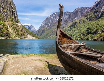 Viking drakkar at the end of the Sognefjord between Flam and Gudvangen in Norway.