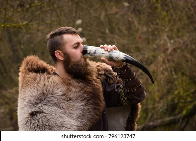 viking drinks from a horn