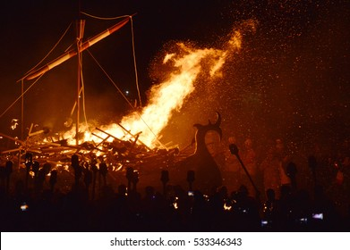 Viking fire festival happening every January on Shetland Islands/Up Helly Aa festival/Viking festival Up Helly Aa happening every January on Shetland Islands