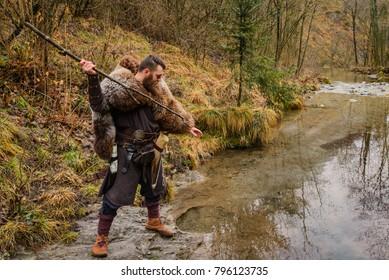 Viking fisherman on the river