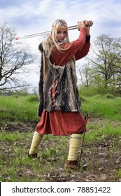 Viking girl warrior with sword