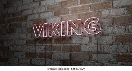 VIKING - Glowing Neon Sign on stonework wall - 3D rendered royalty free stock illustration.  Can be used for online banner ads and direct mailers.