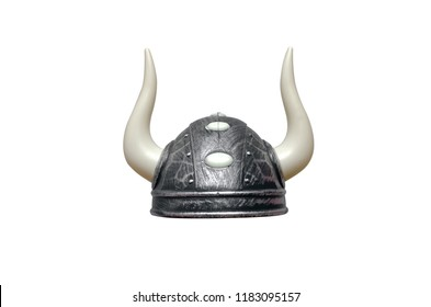 Viking helmet with horns isolated on white background.